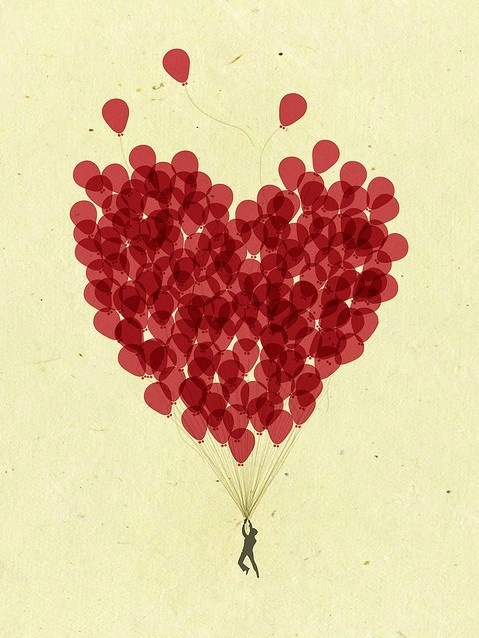 Uplifting heart balloons